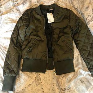 H&M hunter green bomber jacket
